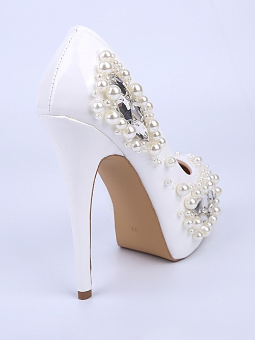 Chicregina Womens Patent Leather Closed Toe Stiletto Heel Evening Shoes with Pearl