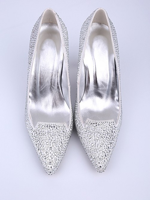Chicregina Womens Closed Toe Stiletto Heel Wedding Shoes with Crystal