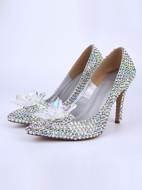 Chicregina Womens Patent Leather Cone Heel Closed Toe with Crystal Flower Shoes