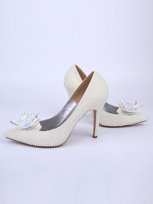 Chicregina Womens Stiletto Heel Bridal Shoes with Pearl Crystal Flower Closed Toe