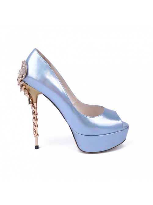 Chicregina Womens Peep Toe Stiletto Heel Platform Patent Leather Party Shoes with Rhinestone