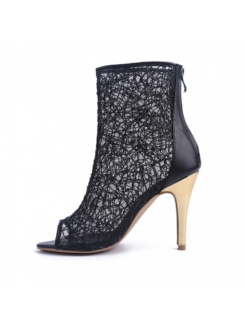 Chicregina Womens Lace Peep Toe Stiletto Heel Party Sandal Ankle Boots with Zipper