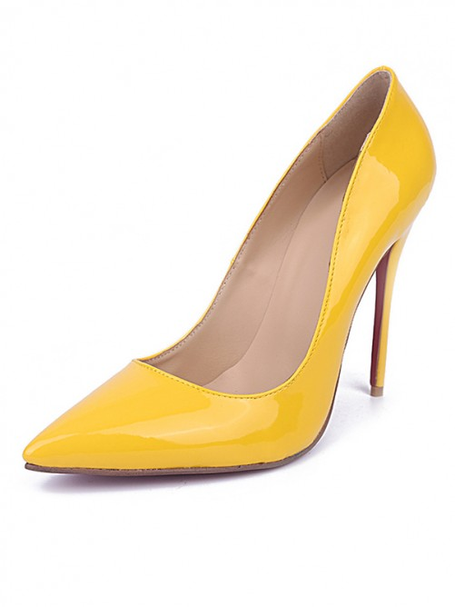 Chicregina Womens Yellow Closed Toe Stiletto Heel Patent Leather Party Shoes