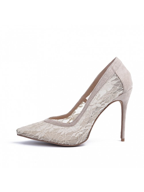 Chicregina Womens Closed Toe Lace Stiletto Heel Party Shoes