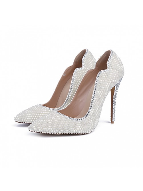 Chicregina Womens Closed Toe Patent Leather Stiletto Heel Wedding Shoes with Pearl