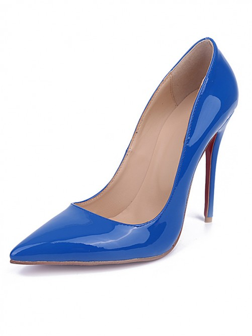 Chicregina Womens Royal Blue Closed Toe Stiletto Heel Patent Leather Party Shoes