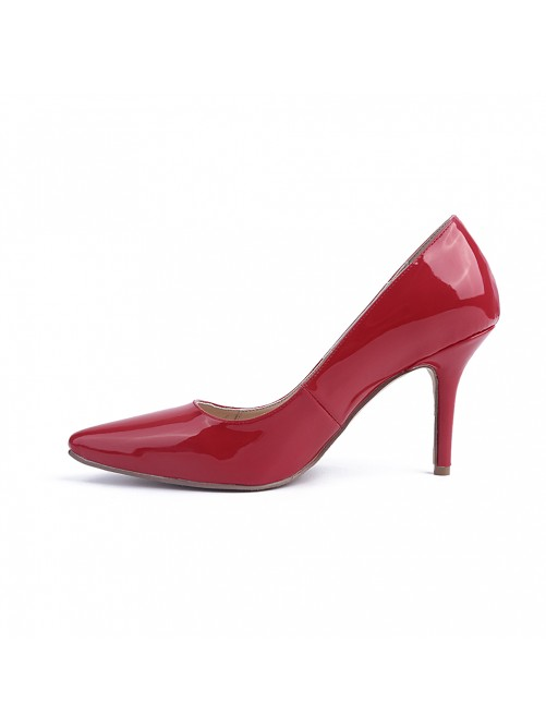 Chicregina Womens Red Stiletto Heel Patent Leather Closed Toe Evening Shoes
