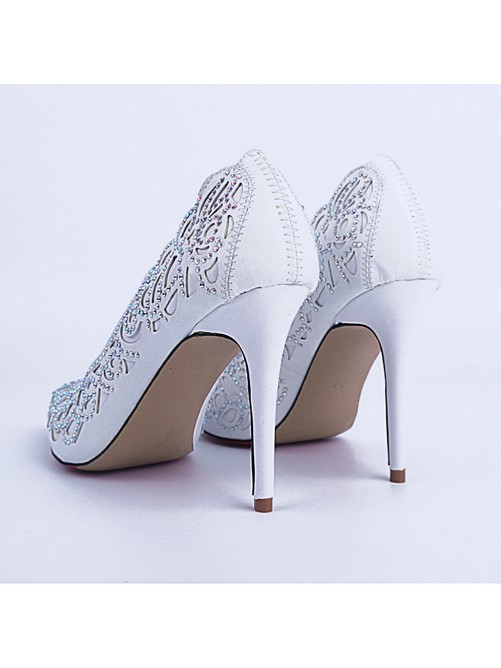 Chicregina Womens Stiletto Heel Sheepskin Closed Toe Party Shoes with Rhinestone
