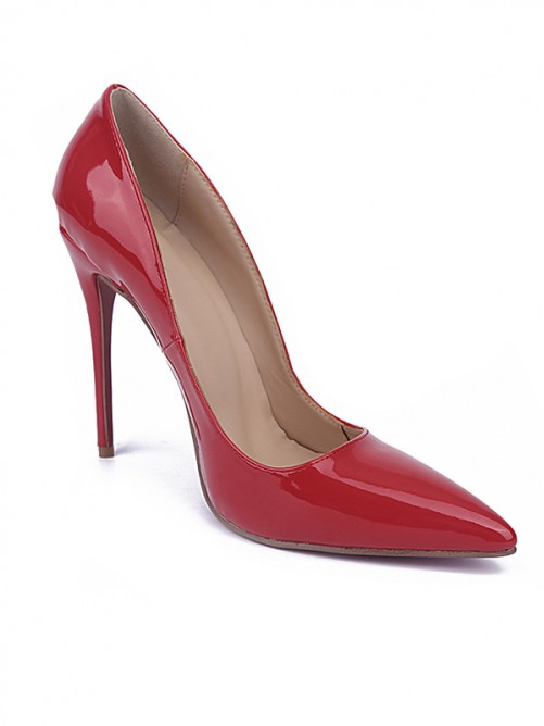 Chicregina Womens Red Closed Toe Stiletto Heel Patent Leather Party Shoes