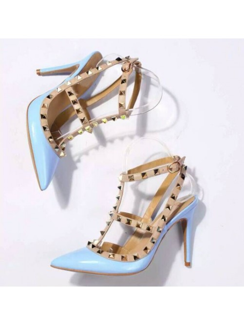 Chicregina Womens Patent Leather Stiletto Heel Closed Toe Sandal Shoes with Rivet