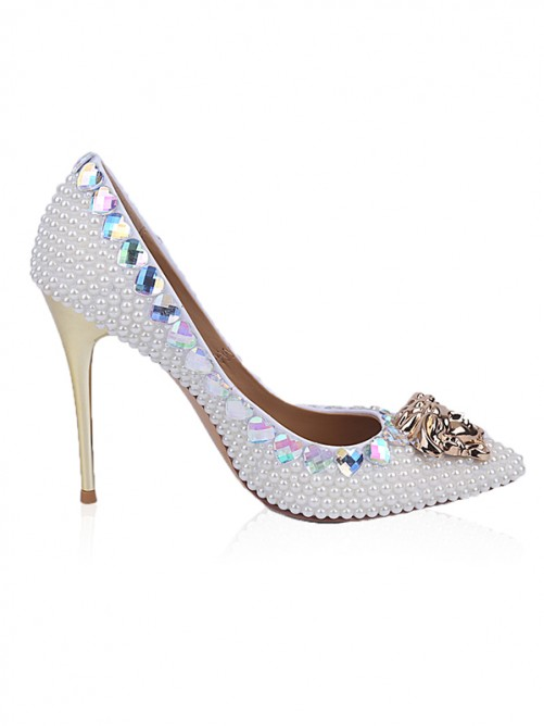 Chicregina Womens Patent Leather Closed Toe Stiletto Heel with Rhinestone Pearl Shoes