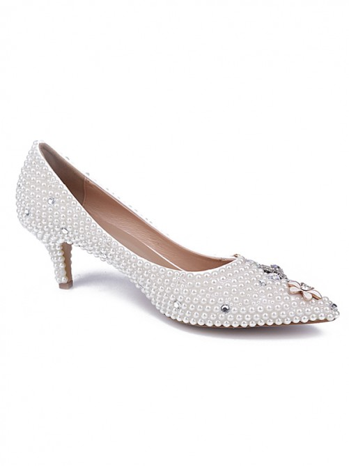 Chicregina Womens Cone Heel Patent Leather Closed Toe Wedding Shoes with Pearl