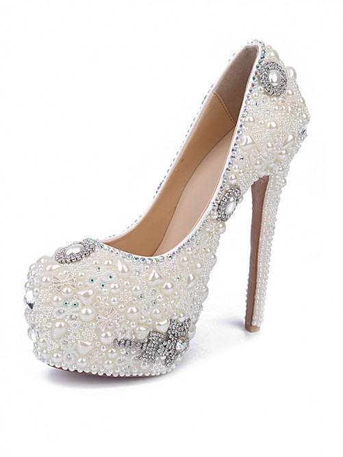 Chicregina Womens Stiletto Heel Patent Leather Closed Toe with Pearl Rhinestone Shoes