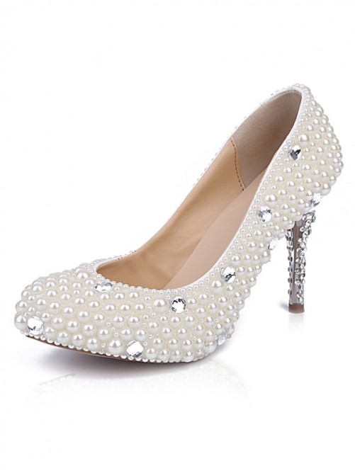 Chicregina Womens Patent Leather Closed Toe Cone Heel Wedding Shoes with Pearl