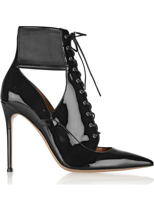 Chicregina Womens Patent Leather Closed Toe Stiletto Heel with Lace Up Ankle Boots