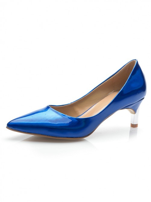 Chicregina Womens Royal Blue Patent Leather Closed Toe Cone Heel Party Shoes