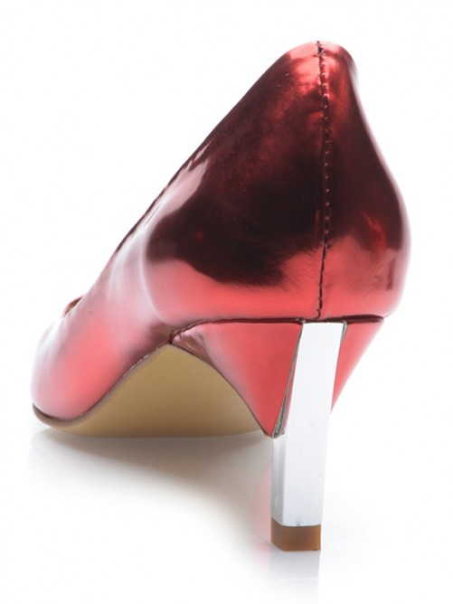 Chicregina Womens Patent Leather Closed Toe Cone Heel Party Shoes