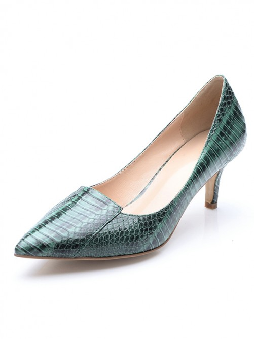 Chicregina Womens Closed Toe Cone Heel Patent Leather Print Party Shoes with Crocodile