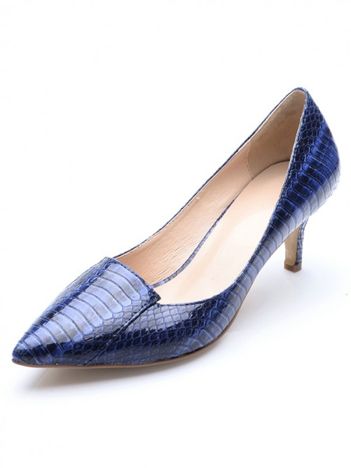 Chicregina Womens Closed Toe Patent Leather Cone Heel Print Party Shoes with Crocodile