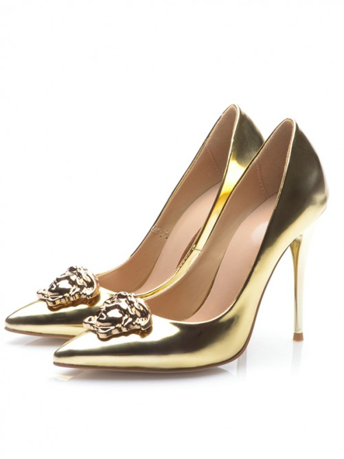 Chicregina Womens Gold Patent Leather Closed Toe Stiletto Heel Evening Shoes