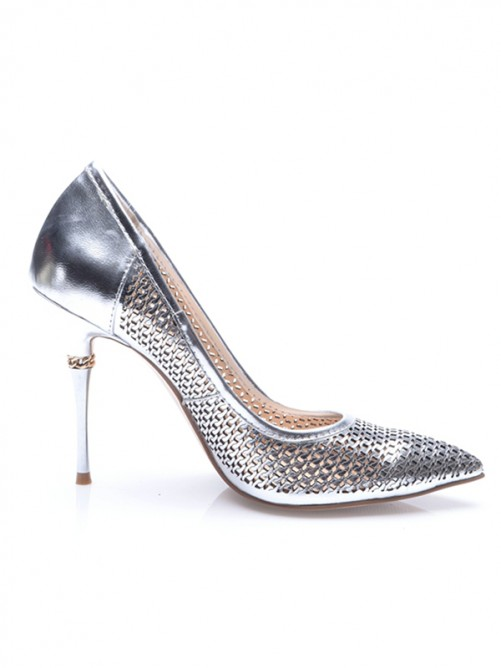 Chicregina Womens Silver Patent Leather Closed Toe Stiletto Heel Evening Shoes