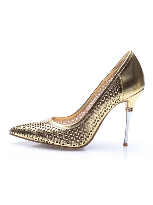 Chicregina Womens Patent Leather Gold Closed Toe Stiletto Heel Evening Shoes