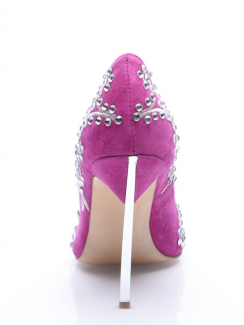 Chicregina Womens Stiletto Heel Suede Closed Toe Party Shoes with Embroidery