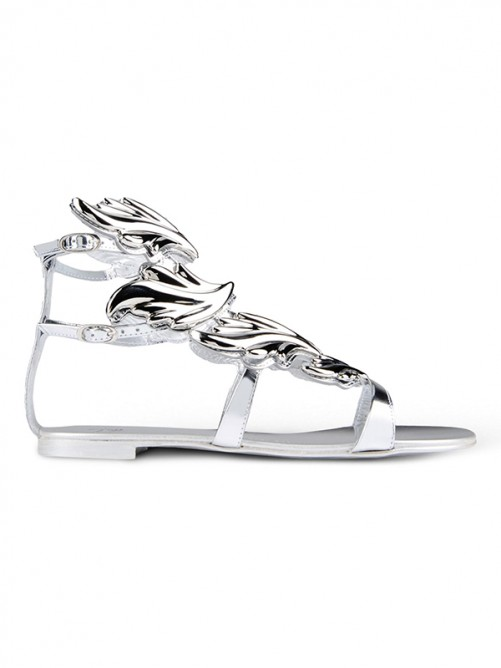 Chicregina Womens Silver Patent Leather Peep Toe Flat Heel Casual Shoes