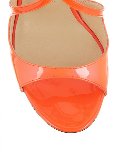 Chicregina Womens Peep Toe Patent Leather Stiletto Heel Sandal Shoes with Buckle