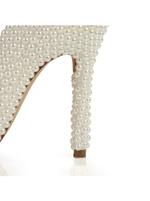 Chicregina Womens Stiletto Heel Closed Toe Patent Leather Wedding Shoes with Pearl