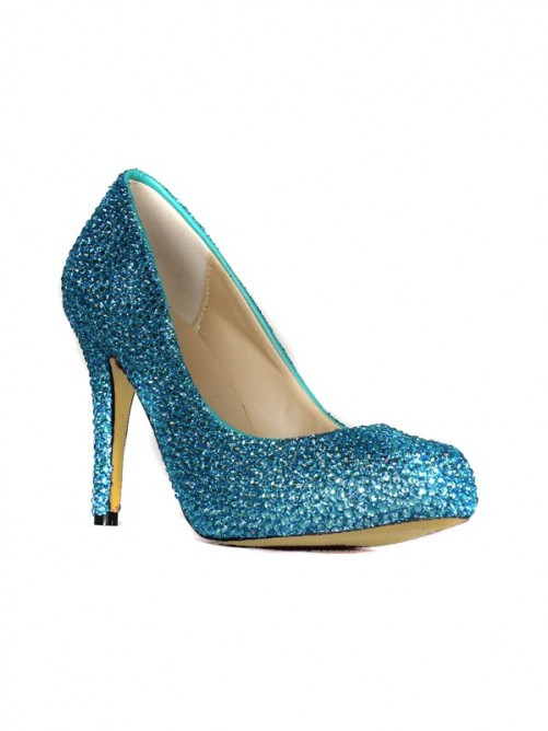Chicregina Womens Sheepskin Stiletto Heel Closed Toe Platform Shoes with Rhinestone