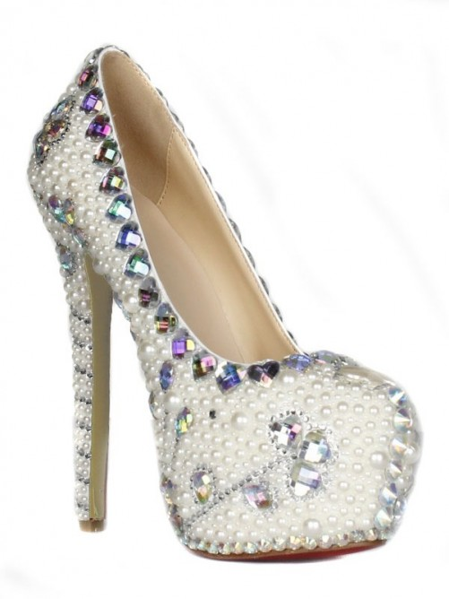 Chicregina Womens Patent Leather Stiletto Heel Closed Toe Platform with Rhinestone Pearl Shoes