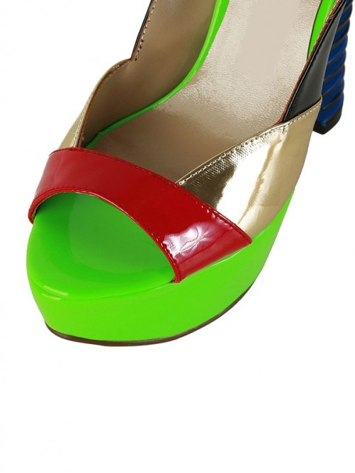 Chicregina Womens Chunky Heel Slingbacks Patent Leather Peep Toe Platform Sandal Shoes