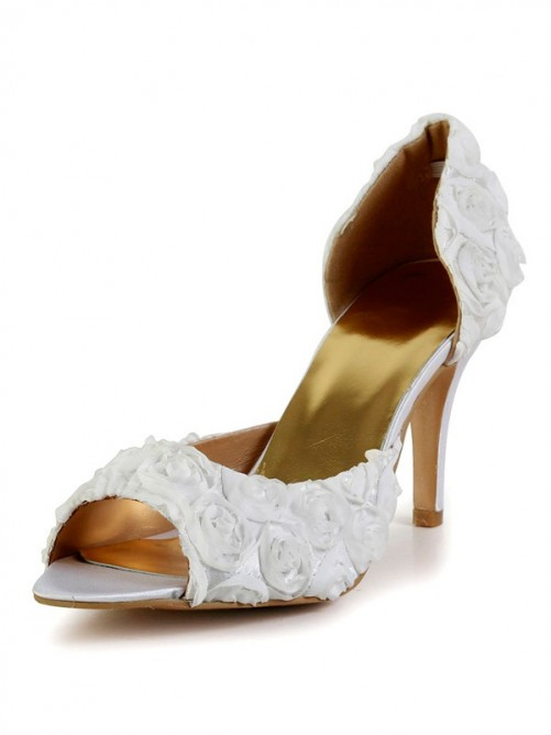 Chicregina Womens Stiletto Heel Silk Peep Toe Wedding Shoes with Flower