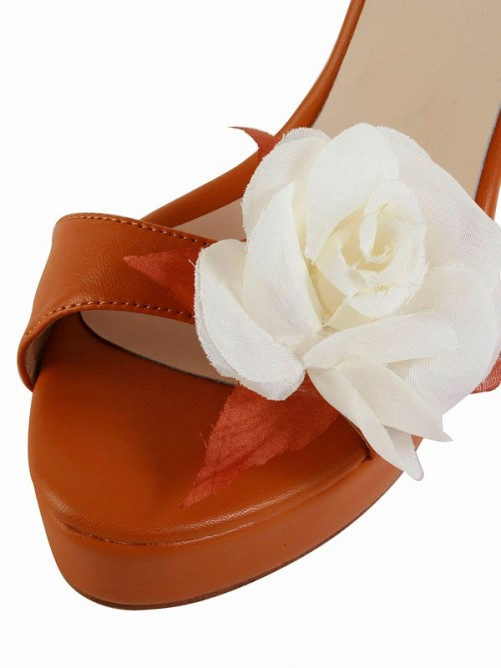 Chicregina Womens Stiletto Heel Sheepskin Peep Toe with Flower Platform Sandal Shoes