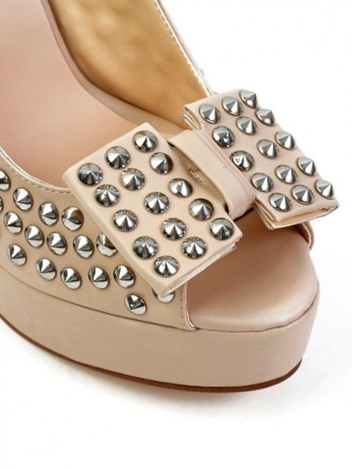 Chicregina Womens Stiletto Heel Sheepskin Peep Toe Platform Sandal Shoes with Bowknot Rivet