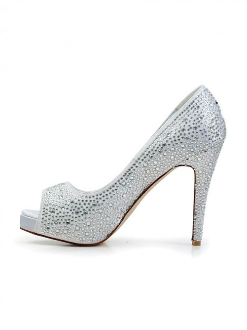 Chicregina Womens Stiletto Heel Flock Peep Toe with Rhinestone Platform Shoes
