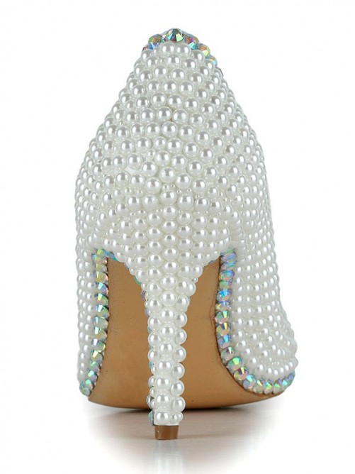 Chicregina Womens Closed Toe Stiletto Heel Patent Leather Wedding Shoes with Rhinestone Pearl