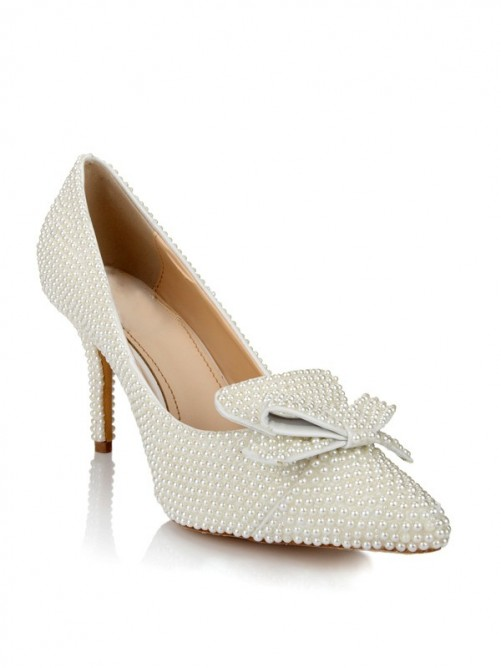 Chicregina Womens Patent Leather Stiletto Heel Closed Toe Wedding Shoes with Pearl Bowknot