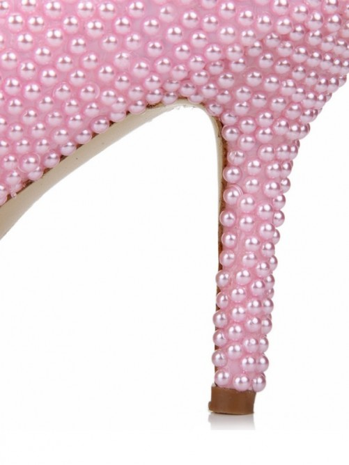 Chicregina Womens Stiletto Heel Patent Leather Closed Toe Wedding Shoes with Pearl Bowknot