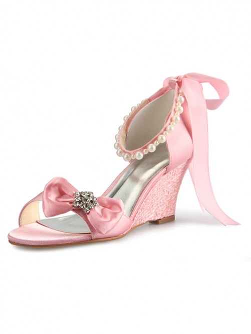 Chicregina Womens Satin Wedge Heel Peep Toe Bridal Shoes with Rhinestone Pearl Bowknot