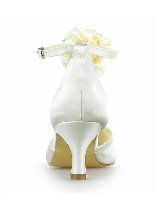 Chicregina Womens Satin Chunky Heel Closed Toe Pumps Wedding Shoes with Flower