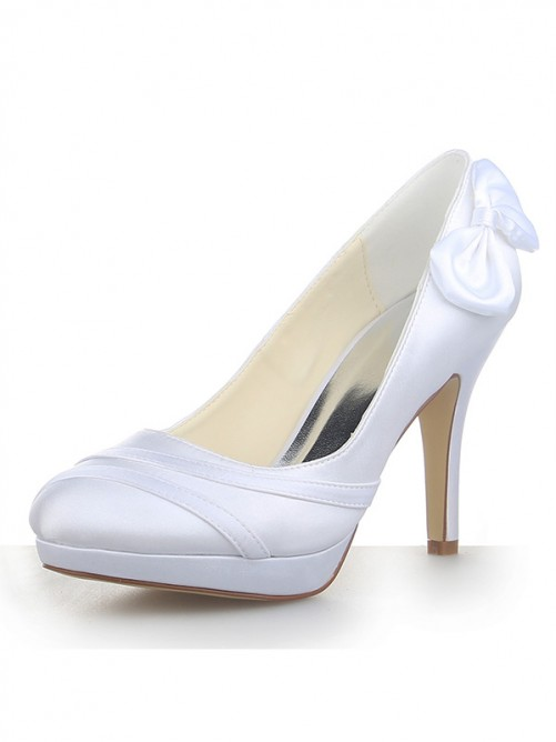 Chicregina Womens Satin Stiletto Heel Closed Toe Platform Pumps Wedding Shoes with Bowknot