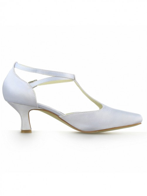 Chicregina Womens White Satin Closed Toe Chunky Heel with Buckle Shoes