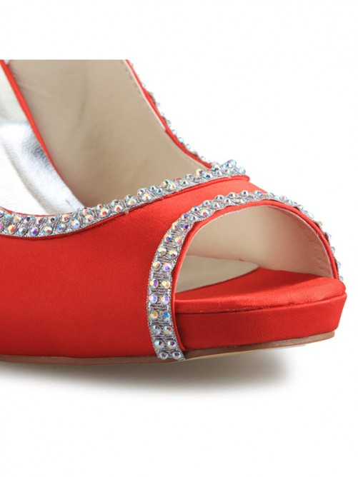 Chicregina Womens Satin Platform Cone Heel Peep Toe Wedding Shoes with Rhinestone