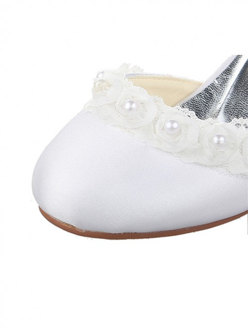 Chicregina Kids Satin Low Heel Closed Toe Pumps Wedding Shoes with Pearl
