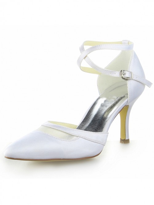 Chicregina Womens White Satin Closed Toe Spool Heel Bridal Shoes with Buckle