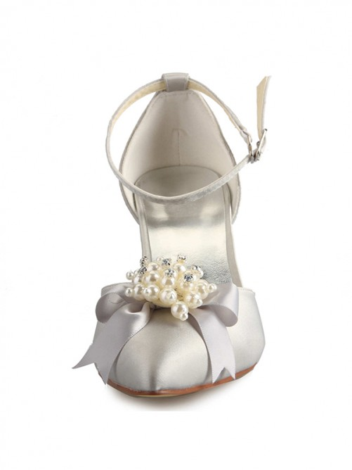 Chicregina Womens Spool Heel Satin Closed Toe Bridal Shoes with Pearl Bowknot