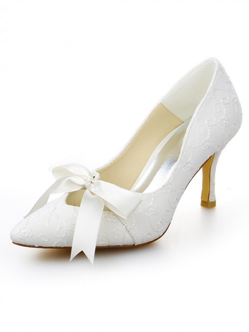 Chicregina Womens Satin Stiletto Heel Closed Toe Pumps Bridal Shoes with Lace Up