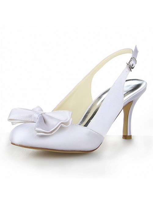 Chicregina Womens Satin Stiletto Heel Closed Toe Sandals with Bowknot